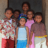 Local kids at Five Rathas