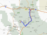 Map from Flagstaff to Jerome