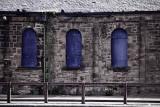 Blue arched windows