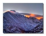 Sunrise behind Longs Peak