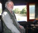 happy: John on the footplate of the steam locomotive