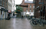 Odense.A pedestrian street,near the city hall.