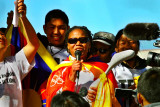 Majora Carter holding the Tibetan Torch of Freedom.