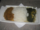 ANA flight: Main - Chicken spinach curry and spicy braised cabbage with rice