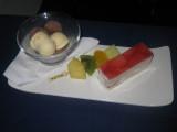 ANA flight: Dessert - Strawberry shortcake, premium chocolate and vanilla ice cream duo, fresh fruit on brochette