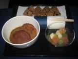 ANA flight: Arrival snack - traditional lamb keema masala and fresh seasonal fruit