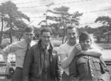 Jones, Burgess, Stiner and Harper on RR at Ashiya 1953