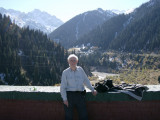 At top of avalanche barrier, Medeo