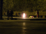 War Memorial in Panfilov Park at night. Eternal flame a good place for teenagers to keep warm