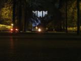 War Memorial in Panfilov Park at night.