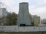 One of the many 'mine' towers where they are digging out the tunnels for the Metro