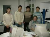 Caspian publshing team - Charles van der Leeuw at the computer