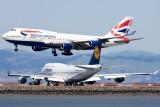 5/6/2010  British Airways Boeing 747-436 G-CIVR landing and Lufthansa Boeing 747-430M D-ABTF waiting to take off