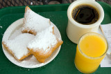 Beignets, coffee and orange juice at Café DuMonde