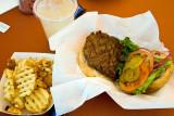Hamburger and Garlic fries
