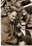 John Wyer with stopwatch in hand and Roy Lunn in the pits at Le Mans 1968 - Victory for the Wyer entered Fort GT40.jpg