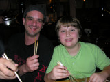 By the end of the trip, Brendon was proficient with chopsticks!  But our friends kept making him cheater sticks....