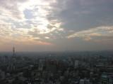 The sun starts to set over Osaka....