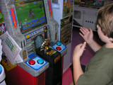 Yeah we hit a Sega arcade.Brendon loved games like this one which dispense a character card which can then be used in game play.