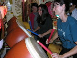 Becky and Melissa had fun on a drum game which taught rhythm.