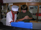 The chef and owner was a friend of Aki's through glass.  When we were done, he asked Brendon if he wanted to make some sushi!