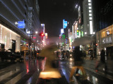 We drove through 'new Tokyo' that night, lots of people out with their umbrellas.
