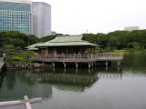 The tea house from a the walk way over the water.