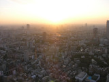The sun sets over Tokyo.