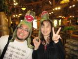 Ono and Yuko model the Dino Hats.
