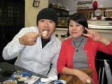 Yoshio and Sari, enjoying one of about 15 rounds of various sashimi, sushi and soup.  I can't imagine EVER having better sushi.