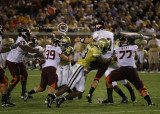 Hokies QB Glennon is hit by GT DE Michael Johnson
