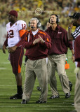 Virginia Tech Coach Frank Beamer calls a timeout seconds before halftime