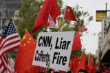 The protest against CNN in Los Angeles on 04/19/2008