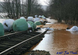 Rail line with silage bales