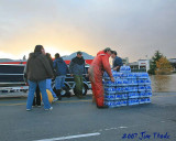 Loading water salvaged from Wal Mart
