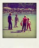 from left, James, stranger, Michael and Rachel