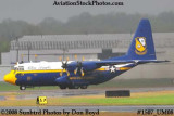 USMC Blue Angels Fat Albert C-130T #164763 at the Great Tennessee Air Show practice show at Smyrna aviation stock photo #1507