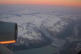 Dawn over the glacier in Alaska
