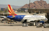 US Airways Arizona special scheme parked at its gate in PHX