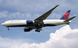 A brand new Delta 777-200LR approacing LHR 27R