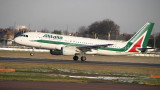 A-319 in Alitalia new colour taking off from LHR RWY 27R