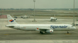 Spanair A-321 leaving its parking stand at BCN, Jan 2010