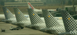 A line of Vueling A-320 tails at BCN