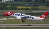 Edelweiss A-320 taking off from ZRH RWY 16