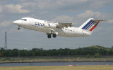 City Jet Bae-146 in Air France colour taking off from LCY RWY 9