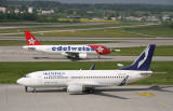 Skyking 737-300 with Edelweiss A-320 in the background