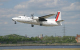 Fokker-50 in City Jet colour taking off from LCY RWY 9