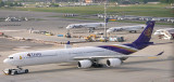 Thai A-340-600 at its parking stand at ZRH
