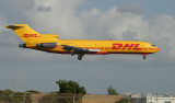DHL 727-200 moments from touching down on MIA RWY 9