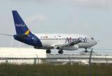 AeroGal's 737-200 racing towards the runway
